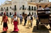 Spanien_Andalusien_Rocio_Wallfahrt_Pfingsten_Pferde_Dorfstrasse