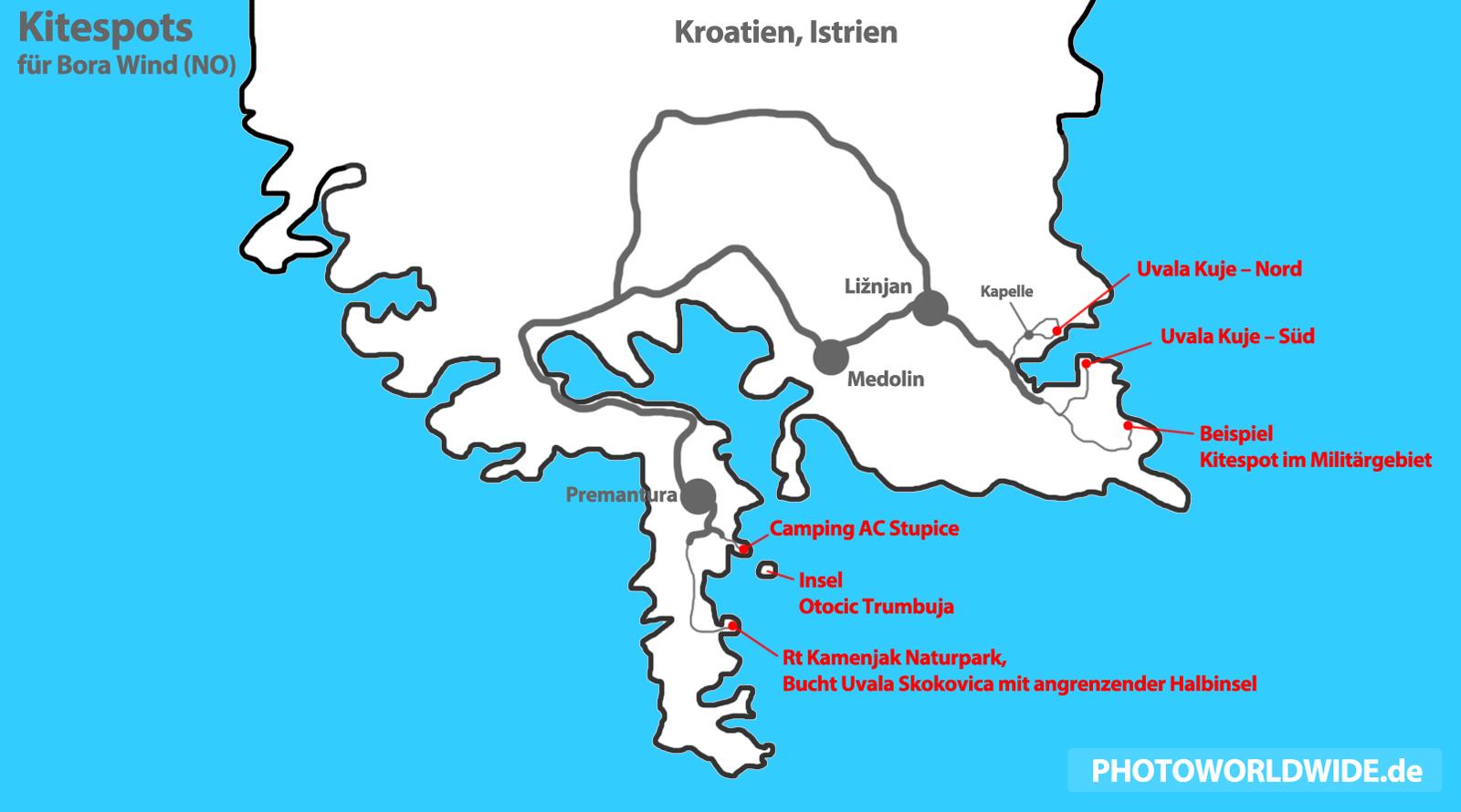 Kroatien Karte Istrien.Kitespotbeschreibung Premantura Liznjan In Istrien Womo Stellplatz
