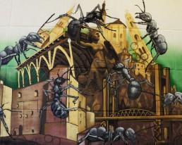 EU-Graffiti in Warschau – von Realschülern aus Traunreut präsentiert